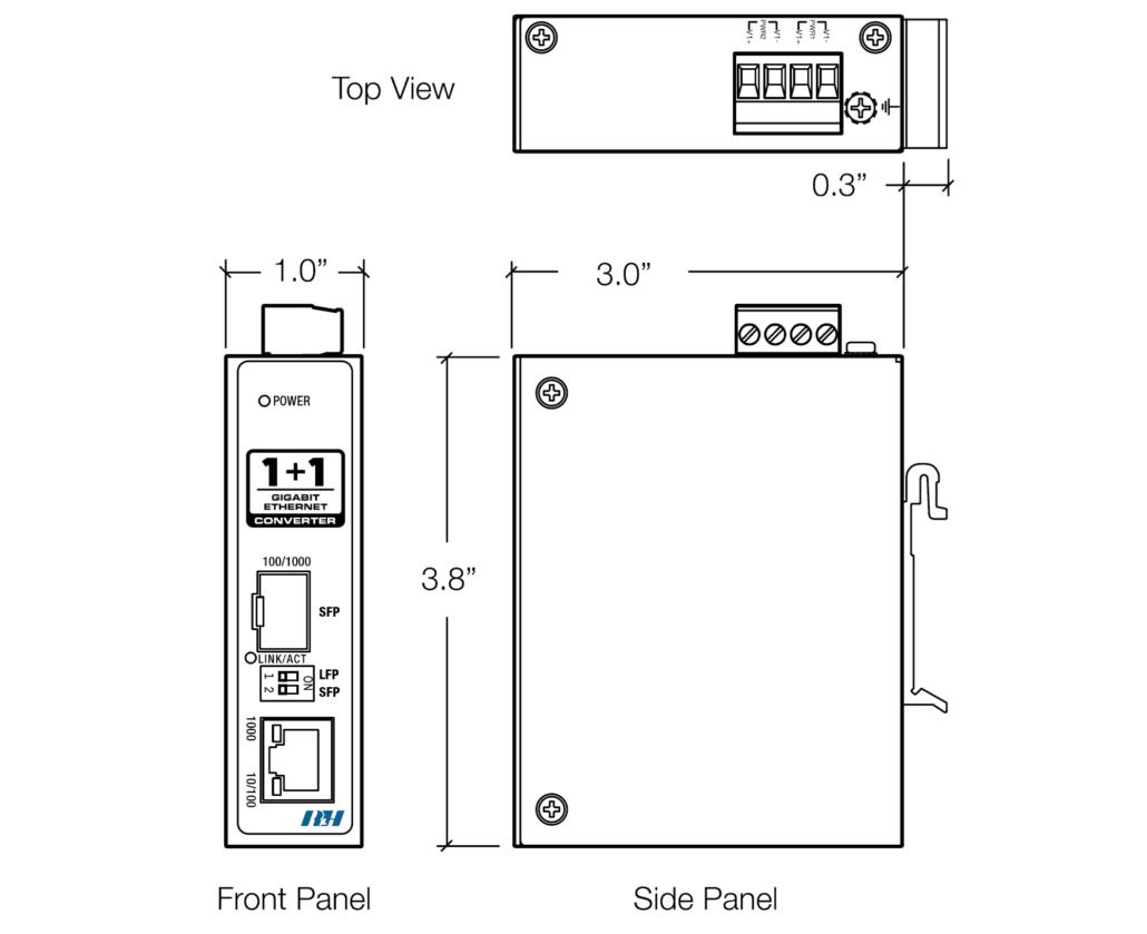 Industrial Gigabit Ethernet SFP Media Converter Dimensions